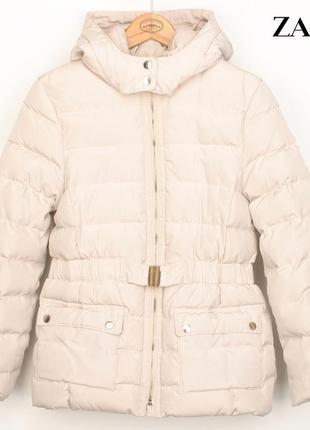 Зимний детский пуховик zara на девочку 13-14 л куртка парка теплая с капюшоном бомбер зима
