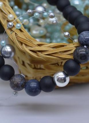 Эксклюзив! браслет #бусины серебро, #шунгит, #опал, #оберег, #серебро_925, #унисекс, 19см