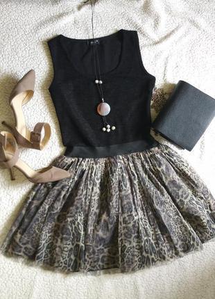 Трендовое платье с леопардовой пышной юбкой пачка без рукавов xs-s леопардовый принт