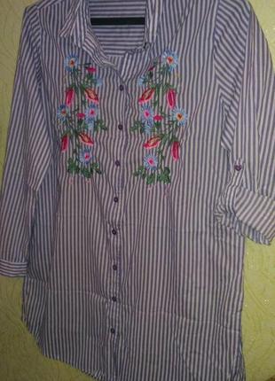 Рубашка удлинённая с вышивкой