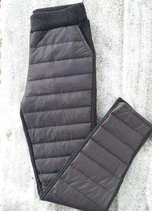 Теплые серые спортивные штаны дутики на флисе 3 цвета р.38,40,42,44