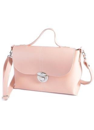 Розовая пудровая сумка портфель летняя деловая с клапаном на защелке