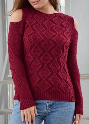 Вязаные ажурные бордовые свитера,кофты с открытыми плечами 8 цветов , с-м-л