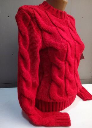 Теплый свитер объемный рисунок косы , универсал размер -3 цвета