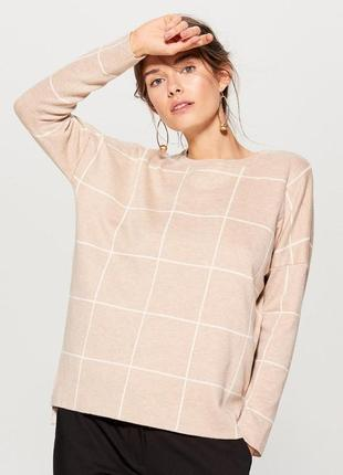 ♥ стильный женский свитер, кофта клетка беж