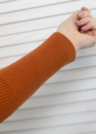 Гольф в рубчик с вышивкой queen свитер джемпер водолазка лапша кирпичная терракотовая3