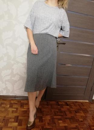 Фирменная теплая юбка в гусиную лапку marks & spencer