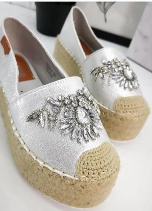 Эспадрильи серебро с вышивкой