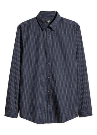 Темно синяя рубашка в крапочку slim fit h&m,рубашка easy iron slim fit