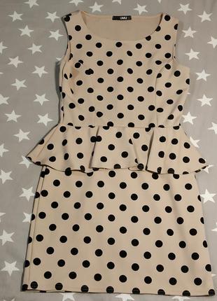 Платье в горох с баской м