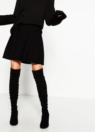 Базовая черная расклешенная юбка солнце клеш от zara
