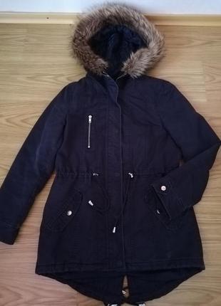 Куртка парка черная  38