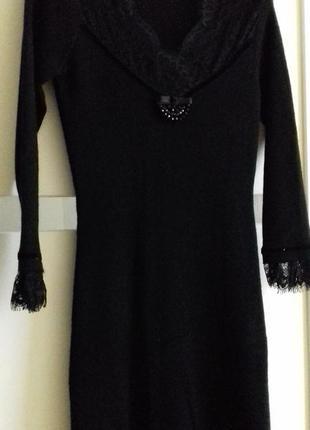 Вязанное трикотажное шерстяное платье миди теплое  бархат кружево s/m/ вязане плаття