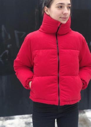 Красная стильная дутая курточка new look