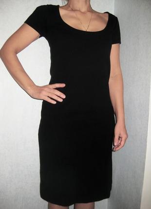Деловое строгое платье filippa k чёрное обтягивающее коттон хлопок короткий рукав