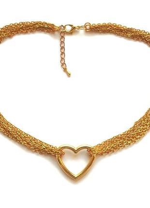 Золотистое ожерелье-чокер с цепочками и коннектором-сердцем, металл . ручная работа