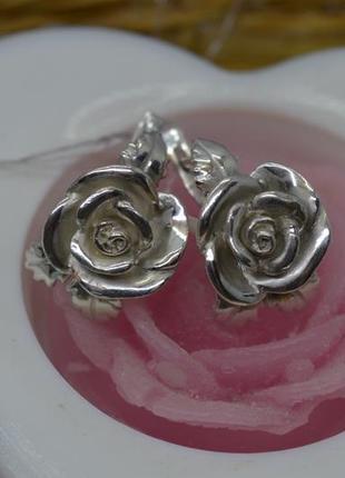 Серебряные серьги #роза, #троянда, #3-d, #срібні_сережки, #бескаменка, #925