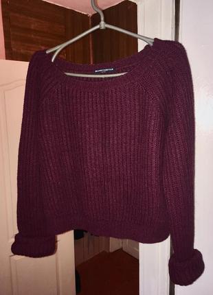 Шерстяной объёмный свитер крупной вязки бордового цвета шерсть oversize