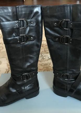 Сапоги женские кожаные, черные