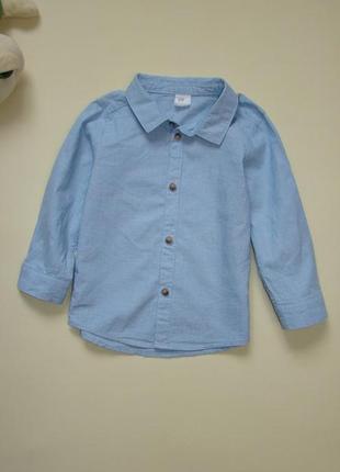 Стильная голубая рубашка h&m 1,5-2 года