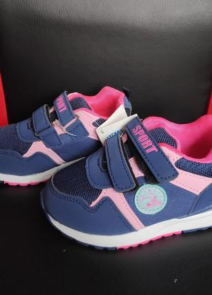 Классные синие с розовым кроссовки на девочку демисезонные 26 размер