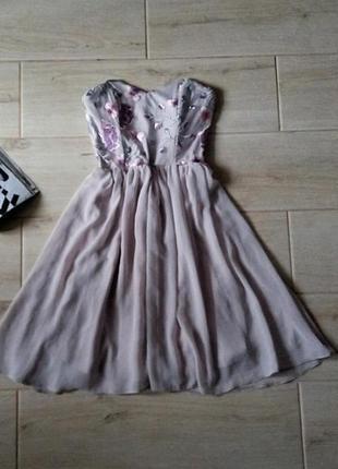 Нежное шифоновое платье с вышивкой цветочный принт р. xxs xs