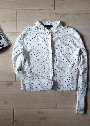 Укороченная рубашка с кармашком в звезды свободного кроя р. xl xxl