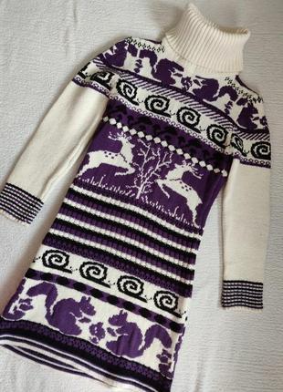 Очень классное зимнее вязаное платье2 фото