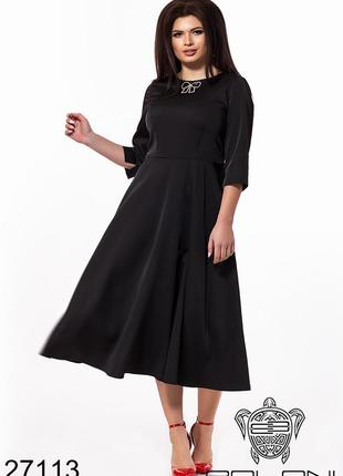 Женское нарядное черное платье размеры: 48-60