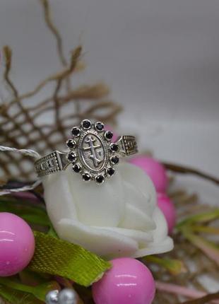 Серебряное #кольцо, #спаси и сохрани, #камни, #оберег, #крест, #925, 16р-р