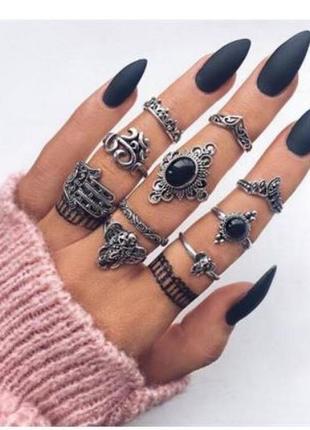 Набор колец на фаланги пальцев 10 штук ( кольцо корона, слон, хамса )