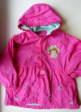 Розовая куртка плащ утепленная на девочку