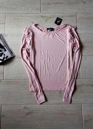 Нежная укороченная кофта свитер блуза с оборкой воланом новая пудрового цвета р. s m