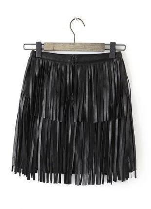 Крутая кожаная мини юбка с бахромой трапеция спідниця з бахромою h&m