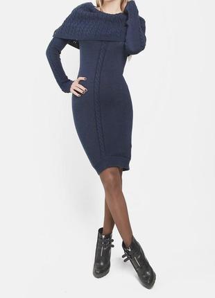 """Вязаное облегающее платье (сукня) темно-синего цвета """"sewel"""""""