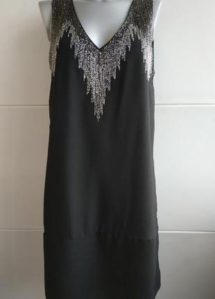 Оригинальное платье h&m черного цвета с декором из бисера