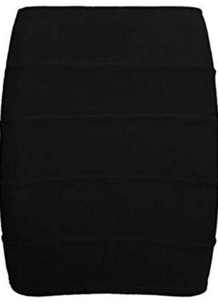 Обтягивающая юбка бандажная чёрная xs 34 высокая посадка
