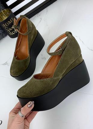 Шикарные туфли из натуральной замши на удобной платформе. размеры с 36 по 40