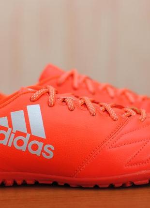 Кожаные оранжевые футбольные сороконожки, копы adidas x 16.3 leather tf, адидас. 40 размер