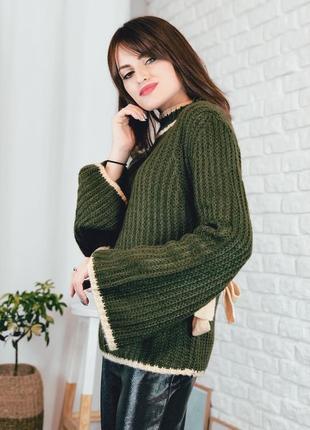 Свитер вязанный хаки зеленый рукава с завязками размер s m