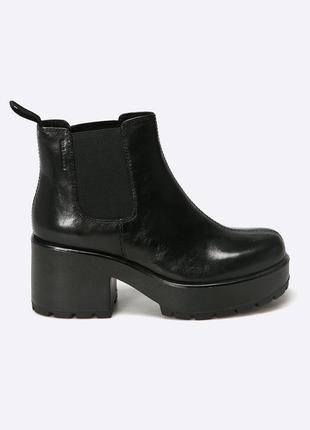 Натуральные кожаные ботильоны vagabond dioon. черные ботинки челси, массивные ботинки