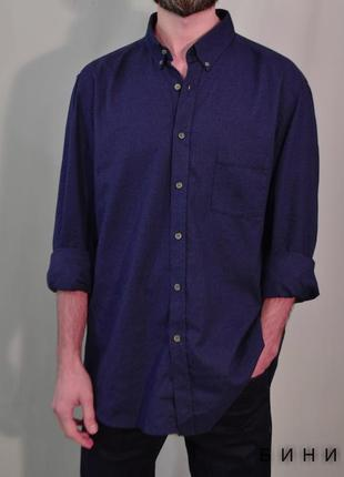 2686\70 темно-синяя хлопковая рубашка massimo dutti xxl