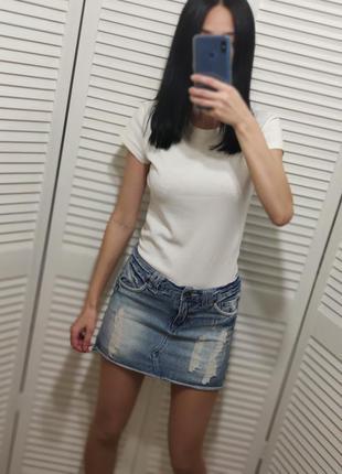 Юбка джинсовая с необработанным краем denim co, р-р s