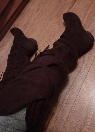 Ботфорды сапоги сапожки ботинки шоколадного цвета чулки