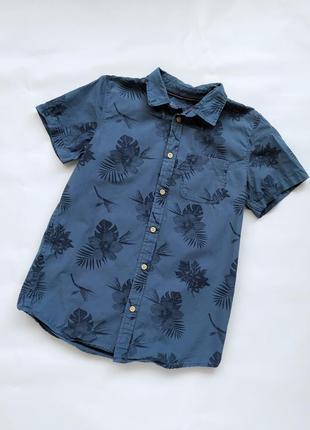 Рубашка на мальчика 11-12/152 с коротким рукавом в тропический принт rebel