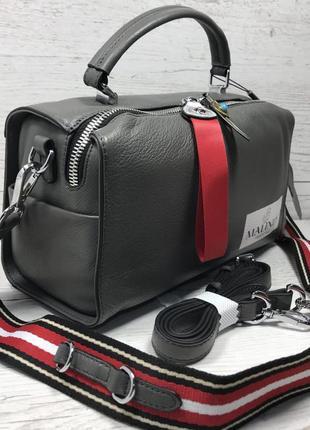 Женская кожаная сумка черная красная серая чорна шкіряна сумка7
