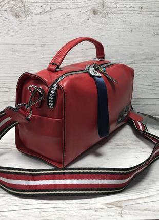 Женская кожаная сумка черная красная серая чорна шкіряна сумка9