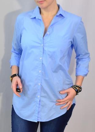 2688\40 голубая хлопковая рубашка h&m m