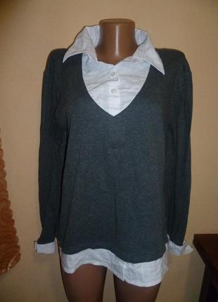 Свитер с имитацией блузы