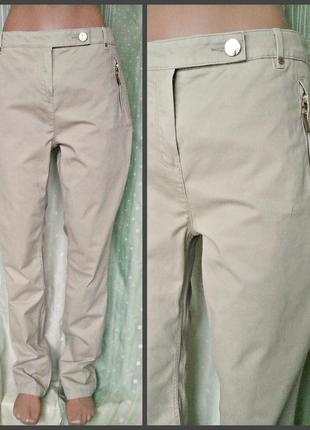 Элегантные бежевые брюки из плотной плащевки, 97% хлопка